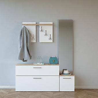 Mobile Ingresso Elisabeth Color Legno Naturale, Bianco in Truciolare Melaminico 137x35x172 cm