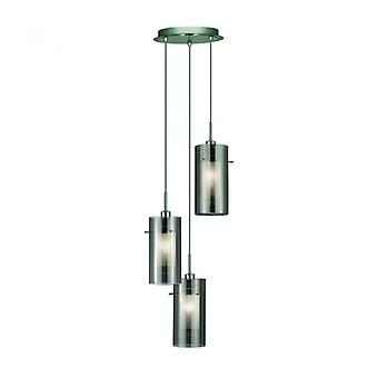 Pendant Light 3 Bulbs Duo2 In Chrome And Glass