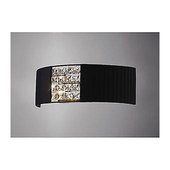 Evelyn Wall Light With Black Lampshade 2 Bulbs Chrome Polished / Crystal
