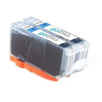2 Cyan Ink Cartridges to replace Canon CLI-521C Compatible/non-OEM from Go Inks