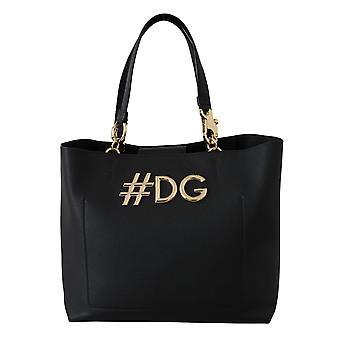 Black leather gold #dg shopping tote borse purse