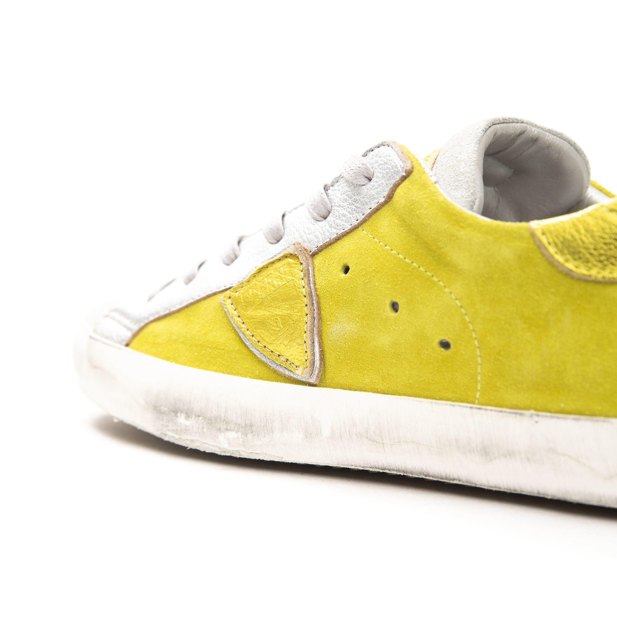 Philippe Model Giallo Yellow Vintage Effect Suede Sneakers