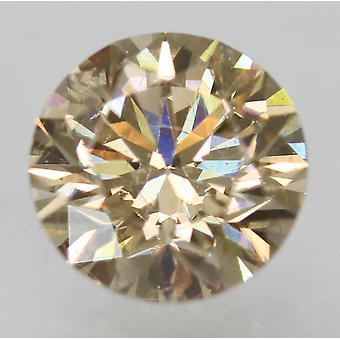 Cert 0.86 Carat Brown Yellow VVS1 Round Brilliant Enhanced Natural Diamond 6.11m