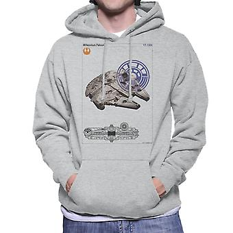 Star Wars Millenniumm Falcon Orthographic Men's Hooded Sweatshirt