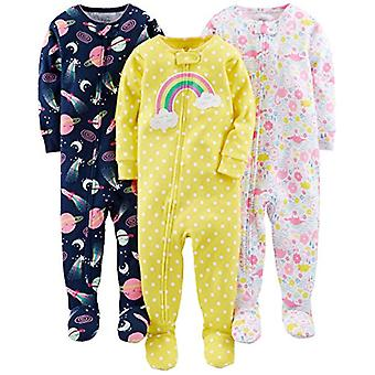 Simple Joys by Carter's Toddler Girls' 3-Pack Snug-Fit Footed Cotton Pajamas,...