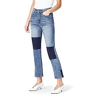Hitta. Women's Straight Leg High Rise Contrast Jeans, (Denim Blue), EU XS (US ...