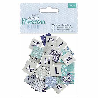 Papermania كبسولة خشبية بلاط رسائل المغربي الأزرق (50pcs) (PMA 174599)