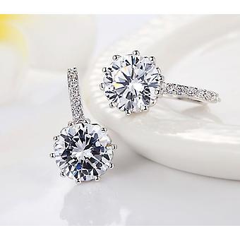 Große Kristall Ohrringe - Silber