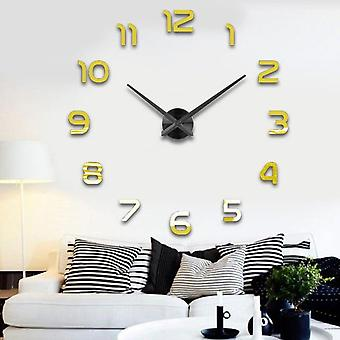 Fashion 3d Big Size Wall Clock Mirror Sticker Diy Brief Living Room, Meeting