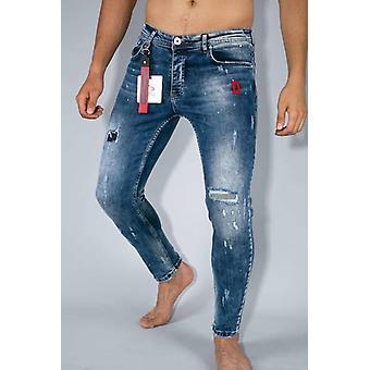 Skinny Jeans - Paint Drops Pants - Blue