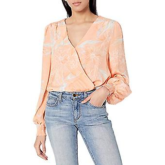 ASTR the label Women's Long Sleeve Dixie V-Neck Bodysuit, Coral Sketch Floral...