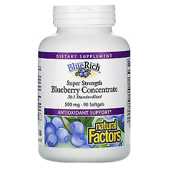 Natural Factors, BlueRich, Super Strength, Blueberry Concentrate, 500 mg, 90 Sof