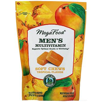 MegaFood, Men's Multivitamin Soft Chews, Tropical Flavor, 30 Individually Wrappe