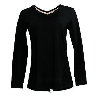 Isaac Mizrahi Live! Women's Top (XXS)V-Neck Forward Seam Black A378219