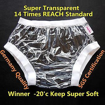 Transparent L 1pcs - Wide Elastic Pants  Non Disposable Plastic Diaper