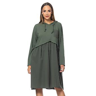 Loose fit dress with back  flounces , side pocket and hood