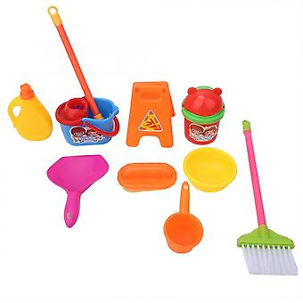 10pcs/lot Simulation Cleaning Set- Mop Broom Ware Plaything Children Play House Cleaning Toys For Kids Pretend Play Learning (red)