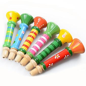 Hooter Horn Educational Musical Instrument  Mini Kids Baby Toys Musical Instrument Colorful Wooden Trumpet (colour Rondom)