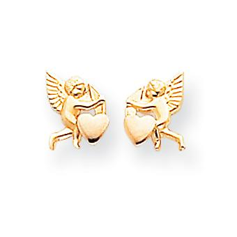 14k זהב צהוב מלוטש ורודיום קופידון אהבה הודעה לאחר עגילים מדדים 9x6mm תכשיטים מתנות לנשים