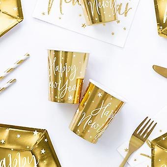 Gold Happy New Year Paper Party Cups x 6