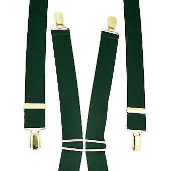 Ties Planet Plain Bottle Green Men-apos;s Trouser Braces - Gold Clips