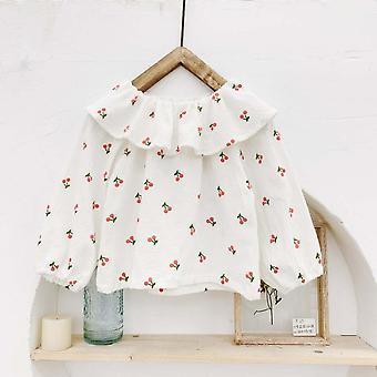 Autumn's Clothing Clothing- Cherry Print Large Lapel Shirt