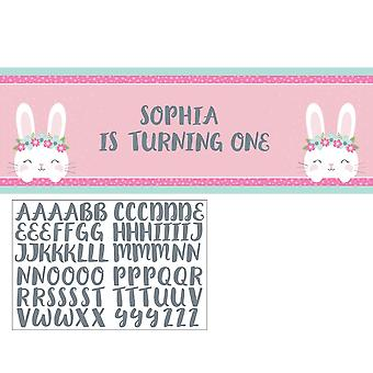 Birthday Pink Bunny Giant Party Banner with Stickers to Customise