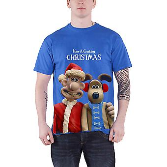 Wallace And Gromit T Shirt Crackin Christmas new Official Mens Blue