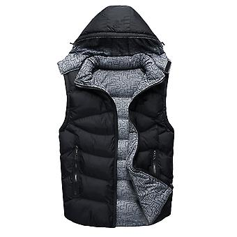 YANGFAN Men's Hooded Waistcoat Vest Zipper Solid Color Gilet Jacket