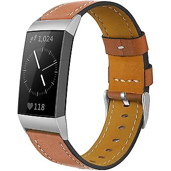 for Fitbit Charge 4 & Charge 3 Band Luxury Genuine Leather Replacement Wristband[Brown]
