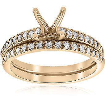 3/8ct الماس خاتم الخطوبة الإعداد & باند 14k الذهب الأصفر