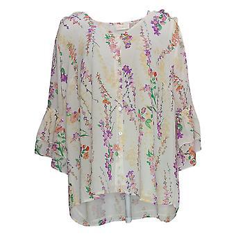 Belle by Kim Gravel Women's Plus Top Floral Print Blouse White A350461