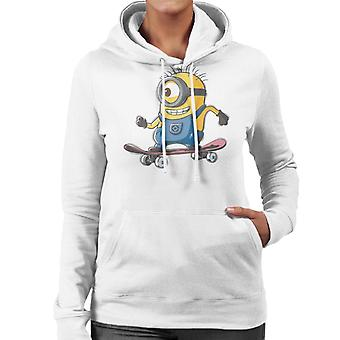 Despicable Me Carl The Minion Skateboarding Women's Hooded Sweatshirt