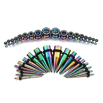 36Pc anodized titanium ear stretching kit plugs & tapers set 14g - 00g