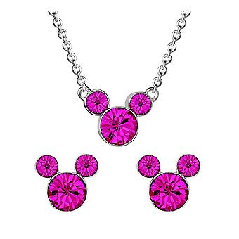 Disney Mickey Mouse Pink Stone Necklace and Earrings Set