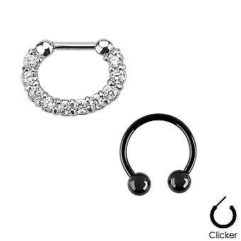Par septum ring 16ga combo med ip hestesko kirurgisk stål cz perler