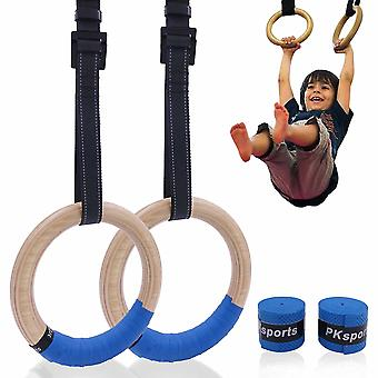 Wooden Gymnastic Rings With Adjustable Straps Buckles Indoor Fitness Home