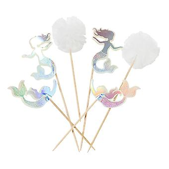 Mermaid Cupcake Cake Toppers Pack of 12 Pom Poms Party