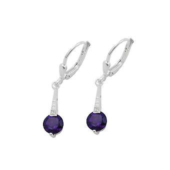 Leverback Earrings Amethyst Silver 925