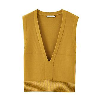 Szilárd mély V-nyakú ujjatlan minden kiegyenlített női pulóver rövid snit mellény