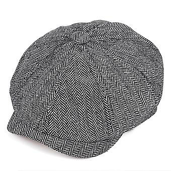 New Retro Octagon Black British Painters Hats, Berets Herringbone Flat Caps