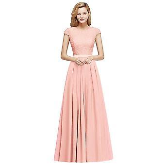 שיפון תחרה אלגנטי, ארוך מקסים, שרוול קצר, שמלת כלה