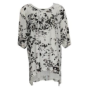 H By Halston Women's Top Short Sleeve V Neck Floral Print White A345774