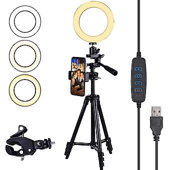"Diyife ring light, [new version] 6"" selfie light, ringlight with tripod stand 3 lighting modes & 11"