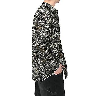 YANGFAN Mens Floral Shirts Long Sleeve Casual Button Down Top