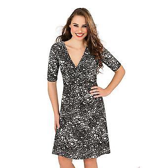 Pistachio Black Tonal Pebble Pleat V-Neck Half Sleeve Dress D477