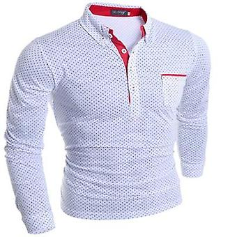 Mens Dot Long Sleeve Polo Shirts, Stand Collar, Solid Shirt Plus Size
