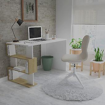 Schreibtisch Patara Weiße Farbe, Melamin Spanplatteneiche, L120xP60xA75 cm