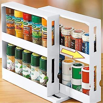 2 Layer Storage Kitchen Rotating Organize Spices Jar Bottle Storage Rack