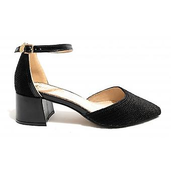 Women's Shoe Goldngold Decollete Open Tc 45 Black Fabric / Leather Inepid Ds19gg27